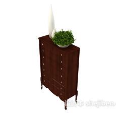 中式装饰厅柜3d模型下载