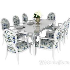 地中海餐桌餐椅3d模型下载