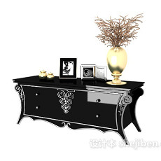欧式黑色装饰边柜3d模型下载