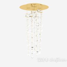 金色清新水晶吊灯3d模型下载