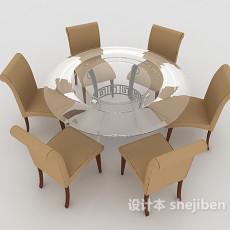 六人桌椅组合3d模型下载