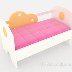 粉色温馨儿童床3d模型下载