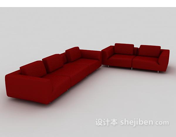 大红色组合沙发