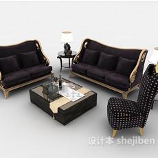 欧式紫色组合沙发3d模型下载