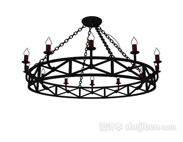 黑色欧式金属吊灯