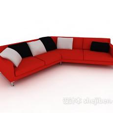 时尚红色多人沙发3d模型下载