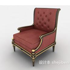 红色欧式高档沙发3d模型下载