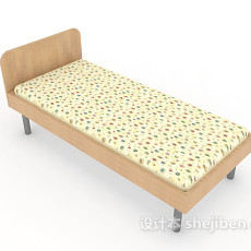 实木单人儿童床3d模型下载