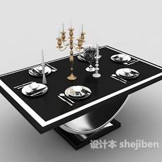 简欧风格家庭餐桌3d模型下载