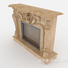欧式雕花壁炉3d模型下载