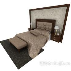 新古典实木双人床3d模型下载