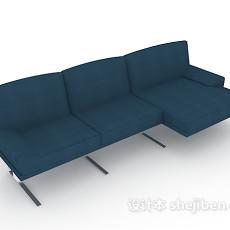 蓝色三人沙发3d模型下载