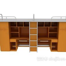 大学宿舍单人床3d模型下载