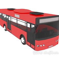 红色公交汽车3d模型下载