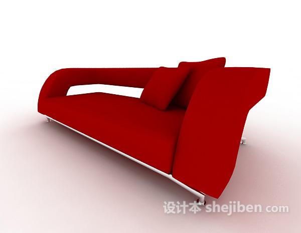 大红色多人沙发