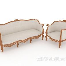 精致欧式木质沙发3d模型下载