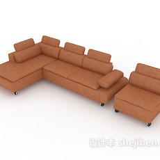 客厅皮质沙发3d模型下载
