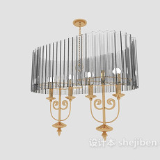 大型客厅吊灯3d模型下载