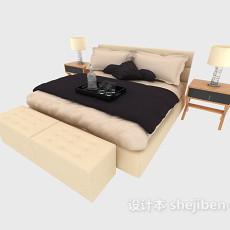 现代分格家居双人床3d模型下载