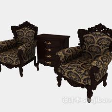 欧式高档单人沙发3d模型下载