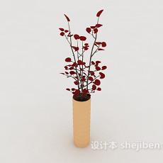 红色盆景盆栽3d模型下载