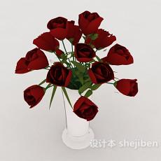玫瑰盆栽摆设3d模型下载