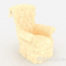 欧式浅色单人沙发3d模型下载