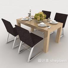 简约实木四人餐桌3d模型下载