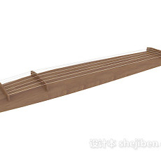 实木乐器古筝3d模型下载