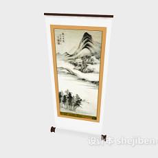 中式传统挂画3d模型下载