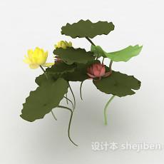 池塘绿叶荷花3d模型下载