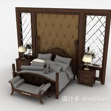 实木新古典双人床3d模型下载