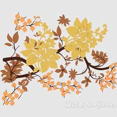 树枝花纹墙饰3d模型下载