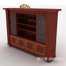 欧式红色实木酒柜3d模型下载