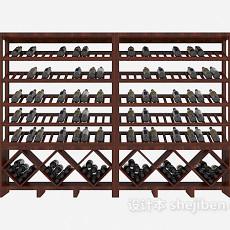 大型实木家居酒柜3d模型下载