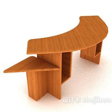 小型实木班台3d模型下载