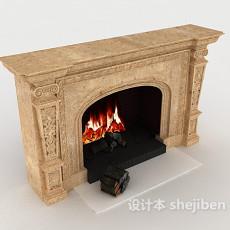 欧式家庭式壁炉3d模型下载