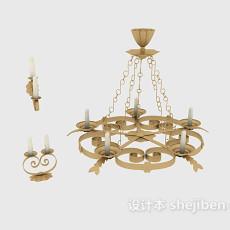 欧式家居吊灯、壁灯、烛台灯3d模型下载