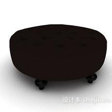 黑色欧式沙发凳3d模型下载