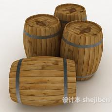 实木酒桶3d模型下载