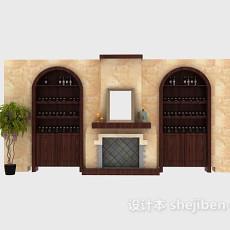 欧式家居酒柜3d模型下载