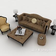 简欧风格多人沙发3d模型下载