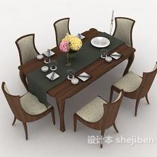 简约家居餐桌餐椅3d模型下载