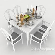 白色简欧风格餐桌3d模型下载