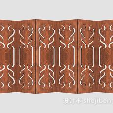 中式风格实木屏风3d模型下载