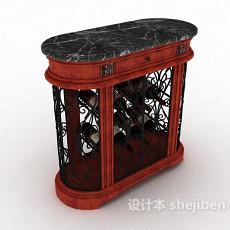 实木酒柜3d模型下载