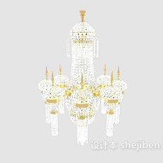 大型居家水晶吊灯3d模型下载