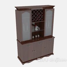 简欧实木酒柜3d模型下载