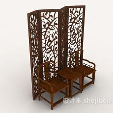 中式屏风、实木家居椅3d模型下载