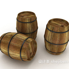酿酒实木酒桶3d模型下载